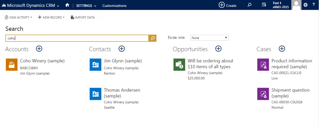 Multi-entity search CRM 2015 4