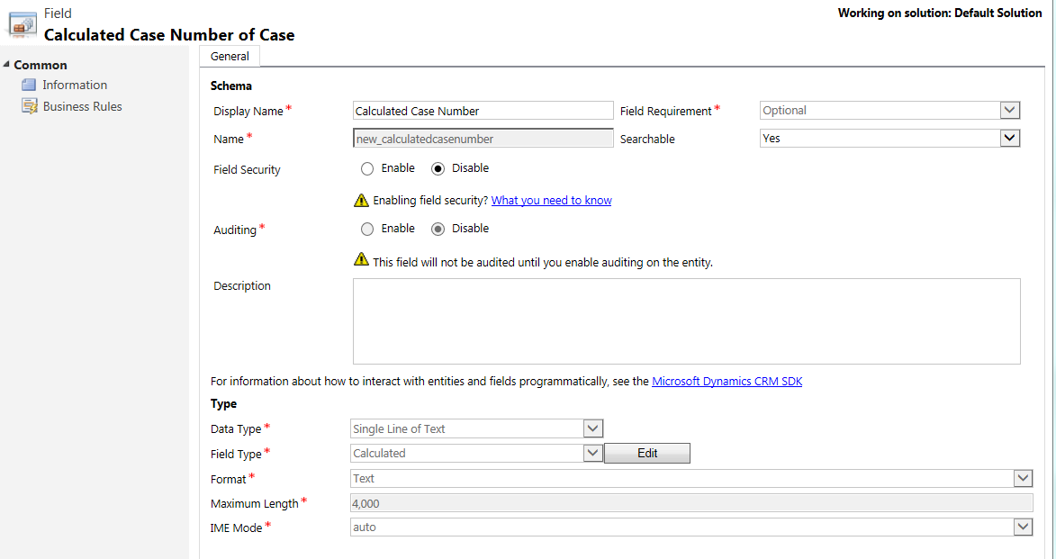 CRM No Code ID - Calculated Case Number of Case