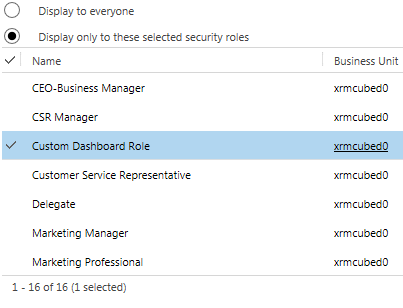 CRM Dashboard - security role selection